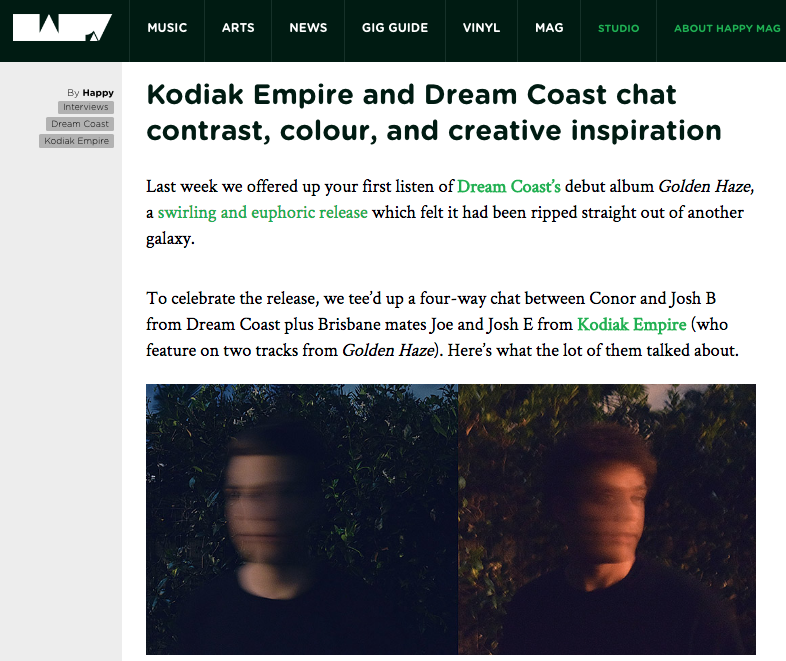 Dream Coast, Happy Mag, Kodiak Empire, interview